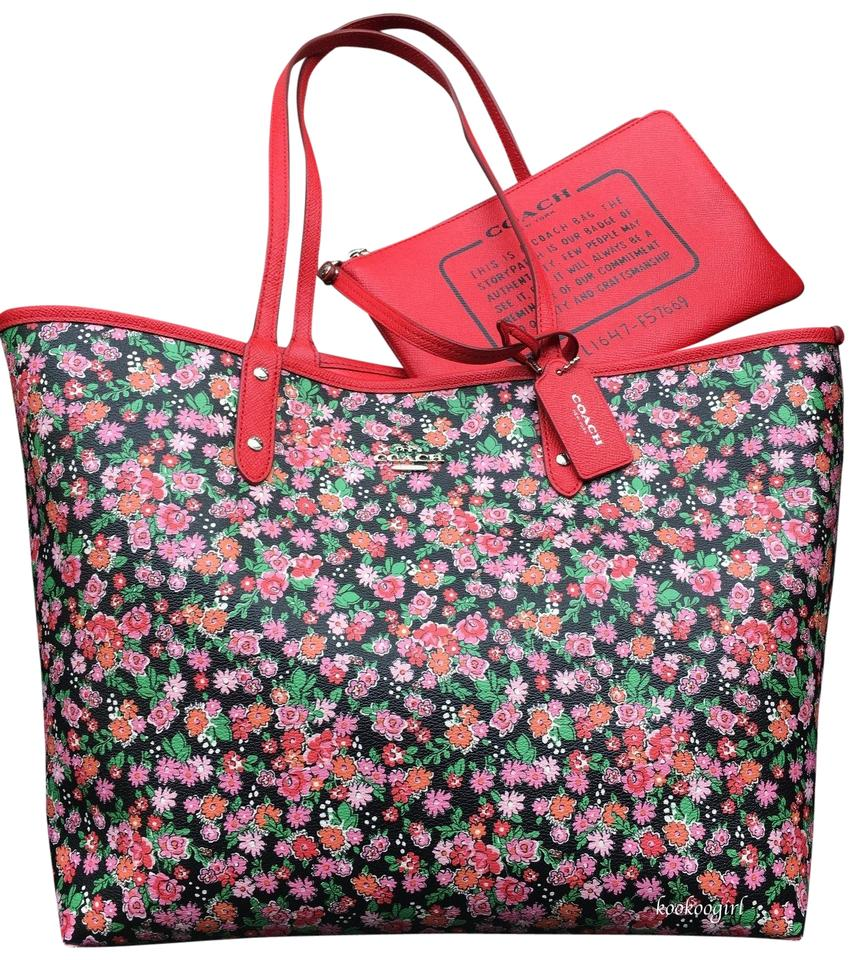 b48fe8efa55 Coach Coated Canvas Pouch Large Floral Reversible Tote in Red Image 0 ...