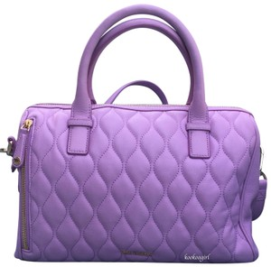 Vera Bradley Leather Quilted Crossbody Floral Satchel in Lavender