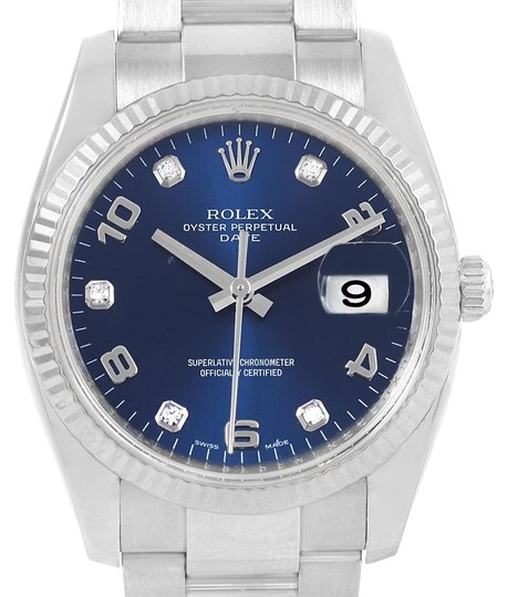Preload https://item5.tradesy.com/images/rolex-blue-36-steel-white-gold-diamond-unisex-115234-box-card-watch-23242819-0-1.jpg?width=440&height=440