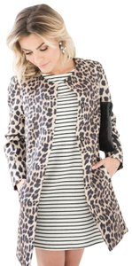 Two Penny Blue Jacket Leopard Trench Coat
