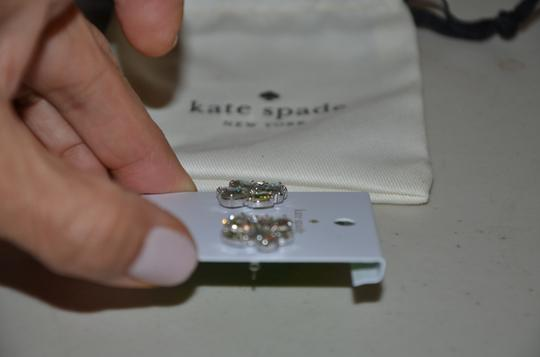 Kate Spade KATE SPADE CLUSTER STUD EARRINGS WHITE PATINA CLEAR SILVER W DUST BAG