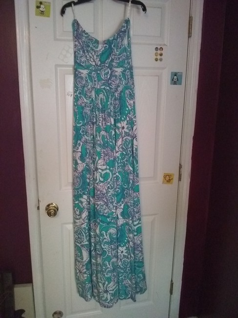 Blue and White Maxi Dress by Lilly Pulitzer Maxi Preppy Strapless