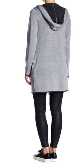 Blanc Noir Side On Seam Pockets Attached Hood Open Front Double Face Knit Warm Wool Blend Cardigan