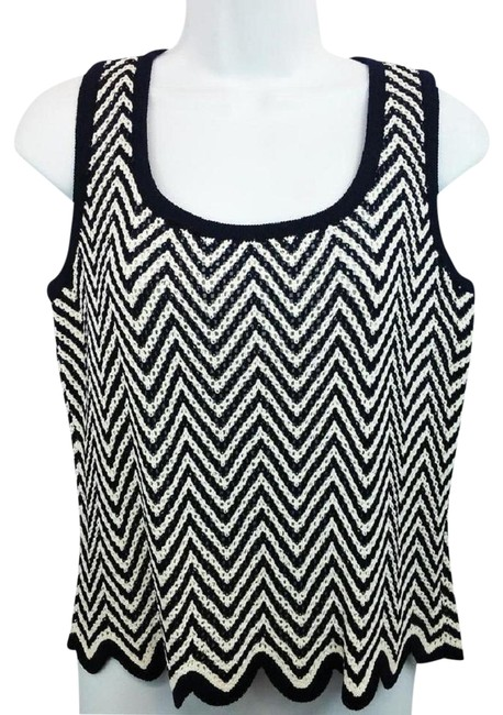 Preload https://item1.tradesy.com/images/st-john-navy-and-white-knit-blouse-size-8-m-23242950-0-1.jpg?width=400&height=650
