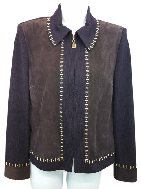 Preload https://img-static.tradesy.com/item/23242968/st-john-dark-brown-collection-eggplant-studded-suede-and-knit-leather-jacket-size-6-s-0-0-650-650.jpg