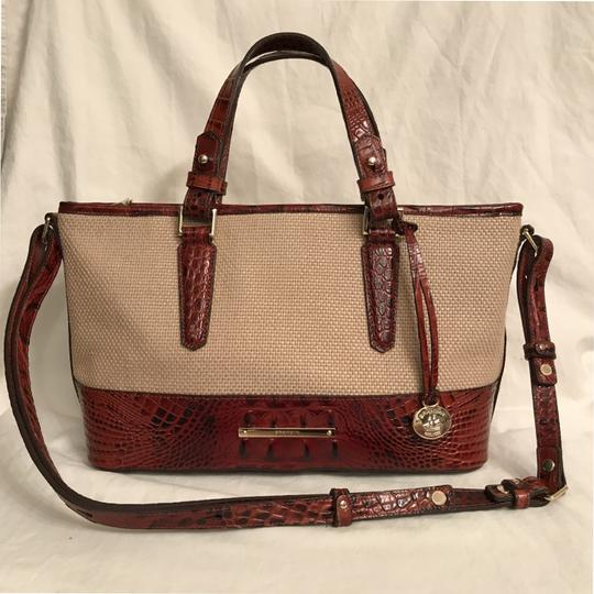 Preload https://item1.tradesy.com/images/brahmin-embossed-leather-beige-brown-canvas-satchel-23242980-0-0.jpg?width=440&height=440
