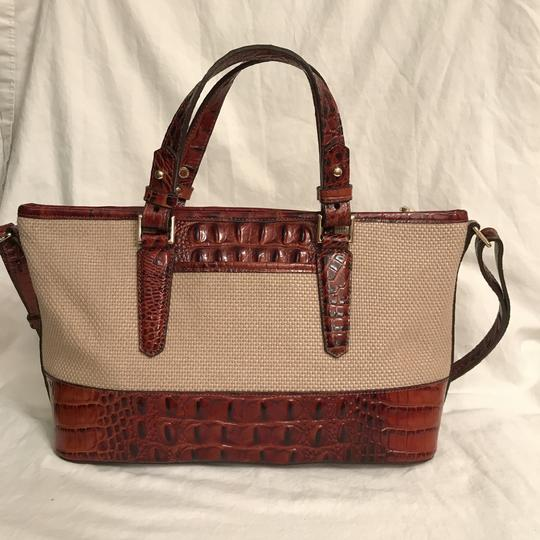 Brahmin Purse Handbag Cross Body Shoulder Leather Satchel in Beige Brown