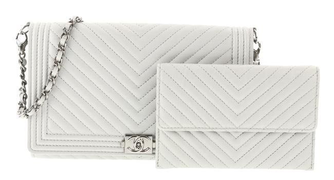 Item - With Chain Grey Lambskin Leather Clutch