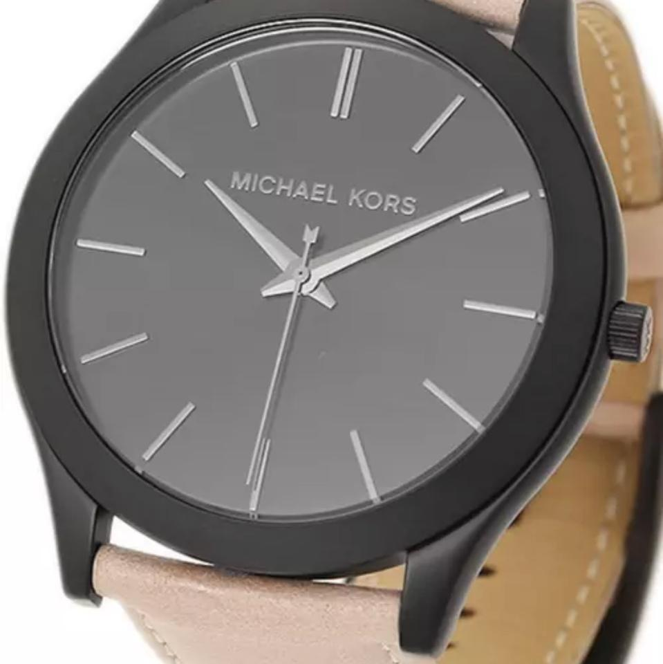 e9585e76d2af Michael Kors Black New Men Slim Runway   Cement Leather Mk8510 Watch -  Tradesy