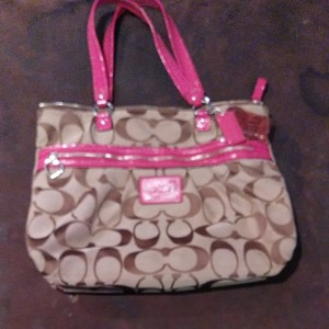 Coach Tote in Brown and pink