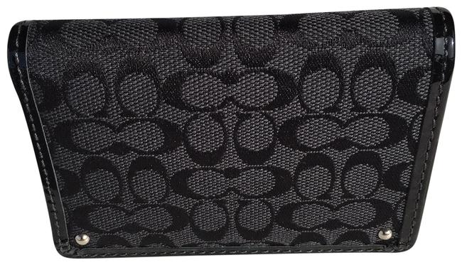 Coach Black/Grey Signature Business Card Holder Wallet Image 1
