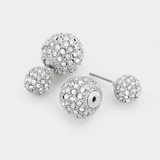 Other 5 Pairs Double Sided Crystal Ball Pearl Stud Earrings