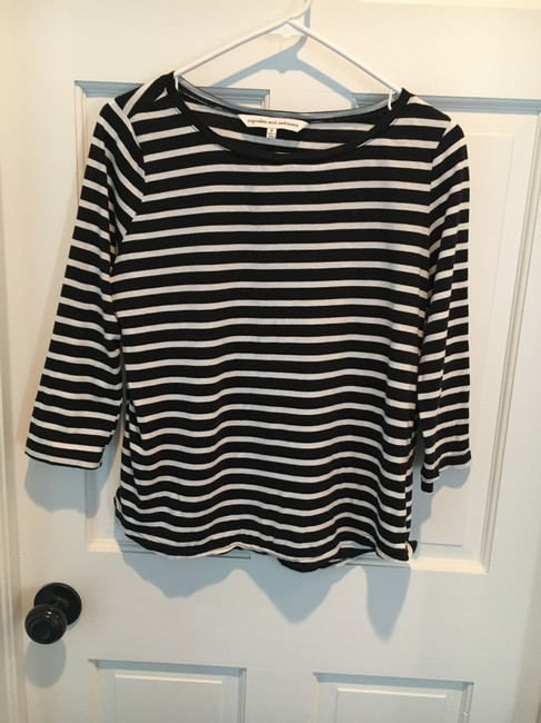 cupcakes and cashmere T Shirt Black and White Stripe