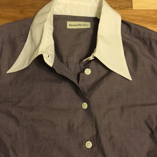 Banana Republic Button Down Shirt Plum with White Trim