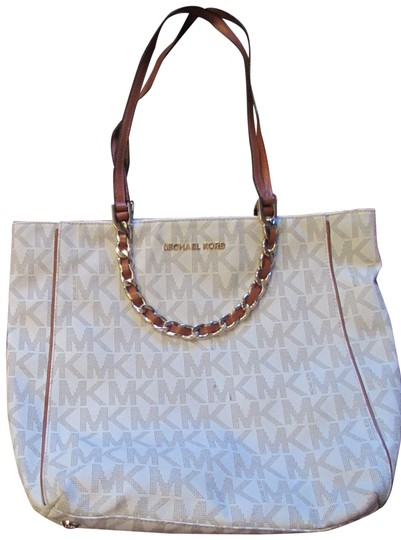 Preload https://item5.tradesy.com/images/michael-michael-kors-signature-saffiano-vanilla-w-brown-leather-trimming-tote-23243259-0-1.jpg?width=440&height=440