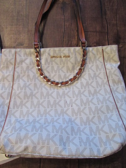 MICHAEL Michael Kors Saffiano Dust Monogram Tote in Vanilla w Brown Leather Trimming