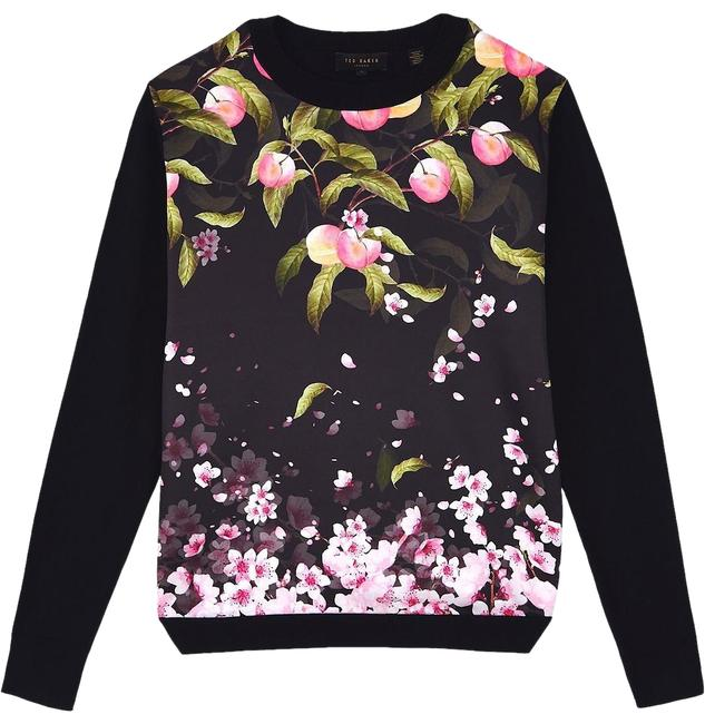 Preload https://img-static.tradesy.com/item/23243316/ted-baker-black-anthya-peach-blossom-woven-front-jumper-sweaterpullover-size-8-m-0-3-650-650.jpg