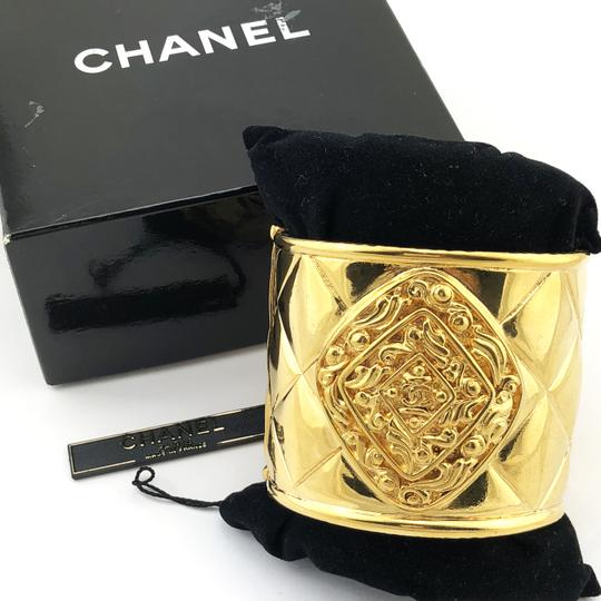 Chanel Chanel Vintage Gold Plated QuiltedCC Wide Bangle