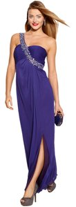 Betsy & Adam Embellished Empire Waist Slit One Shoulder Evening Gown Dress