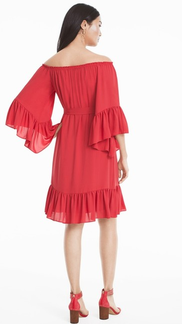 White House | Black Market short dress coral Off The Shoulder Ruffles Mini Self Tie on Tradesy