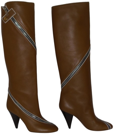 Preload https://img-static.tradesy.com/item/23243453/celine-tan-brown-knee-high-lambskin-leather-zipper-detail-bootsbooties-size-eu-385-approx-us-85-regu-0-1-540-540.jpg