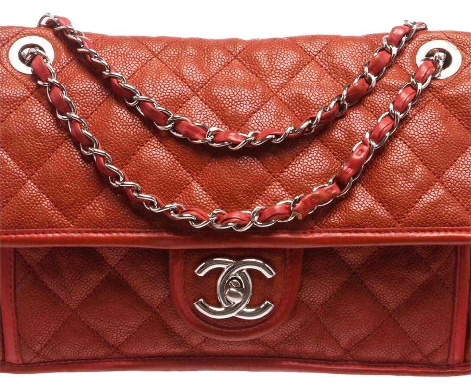 df1023e6174998 Chanel Classic Quilted French Riviera Brick Red Caviar Leather Shoulder Bag