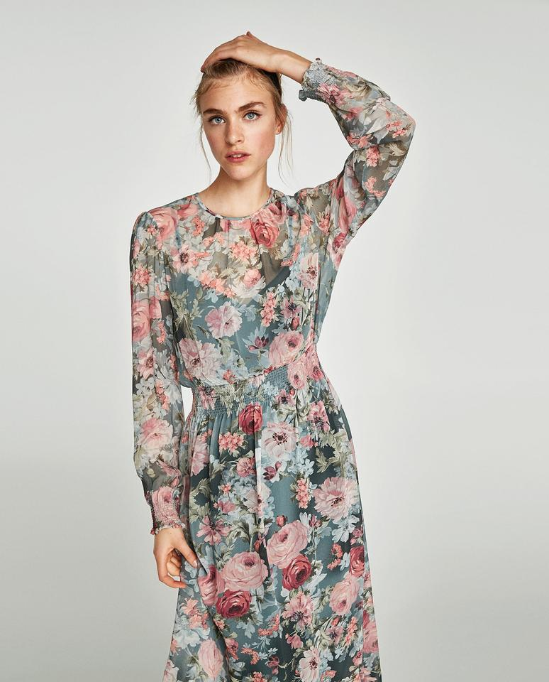 62cd267626 Zara Cinched Flowers Longsleeve Flowy Modest Dress Image 11. 123456789101112