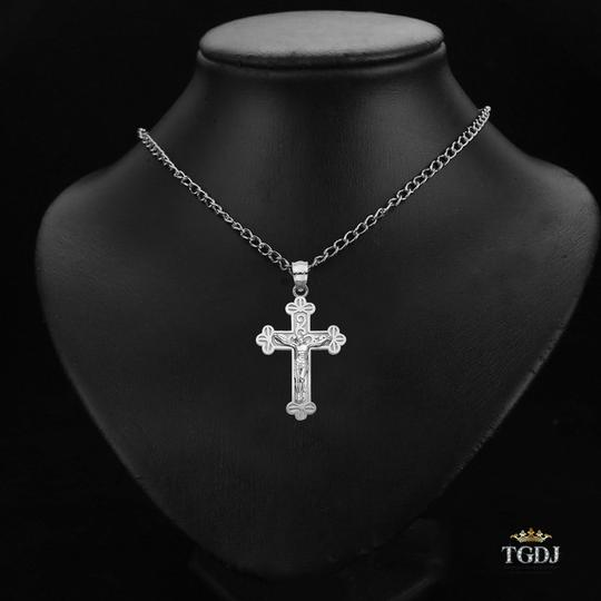 Top Gold & Diamond Jewelry 14K White Gold Jesus Crucifix Cross Religious Pendant