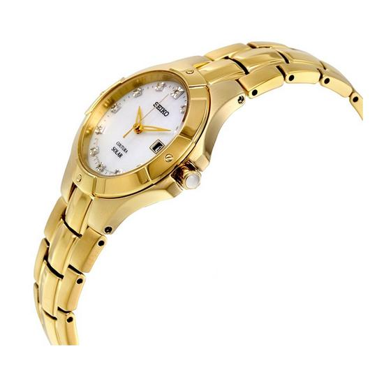 Seiko Coutura Gold-tone Solar Mother of Pearl Calendar Ladies Casual Watch