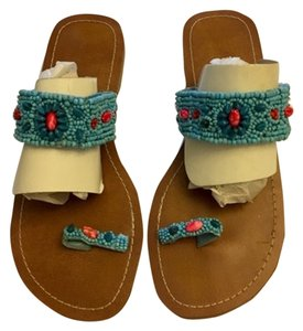blue and multi bead Flats