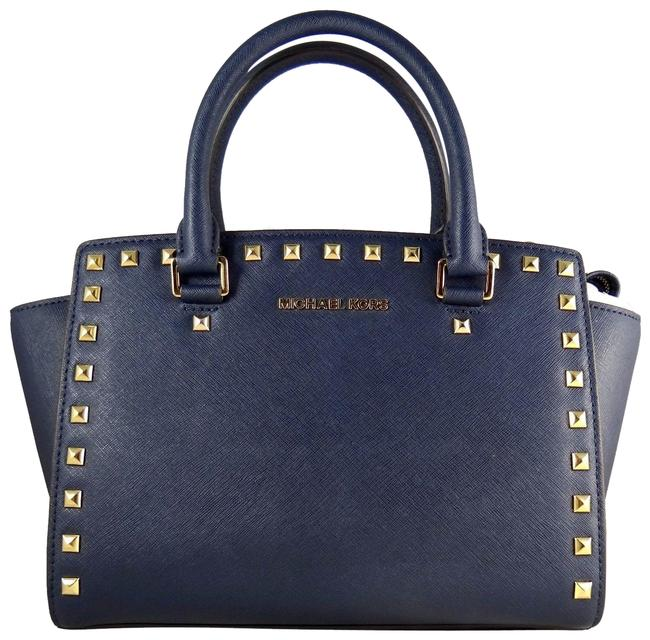 Michael Kors Selma Medium Studded Top Zip (New with Tags) Navy Blue/Gold Hardware Saffiano Leather Satchel Michael Kors Selma Medium Studded Top Zip (New with Tags) Navy Blue/Gold Hardware Saffiano Leather Satchel Image 1