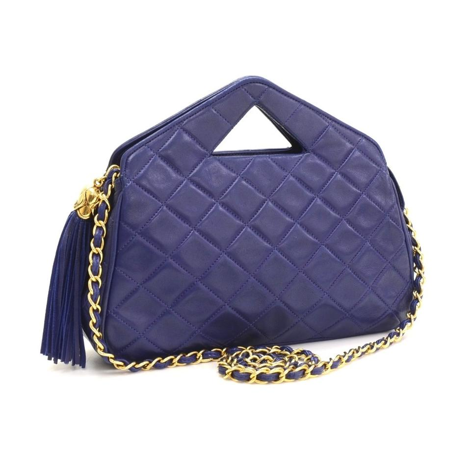 c85fe3b64fc1 Chanel Clutch Vintage Navy Blue Lambskin Leather Shoulder Bag - Tradesy