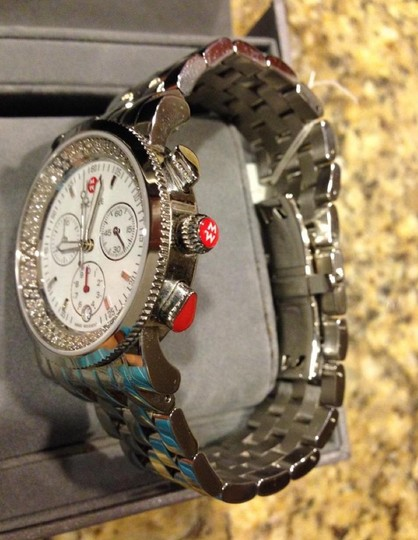 Michele Silver Sport Sail Diamond White Dial Watch