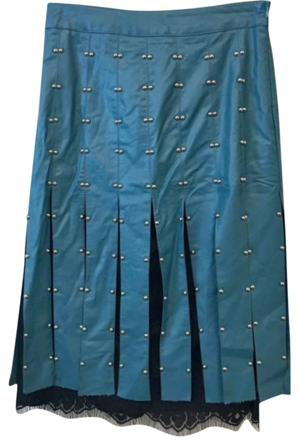 Preload https://img-static.tradesy.com/item/23243729/beulah-teal-studded-faux-leather-knee-length-skirt-size-4-s-27-0-2-650-650.jpg