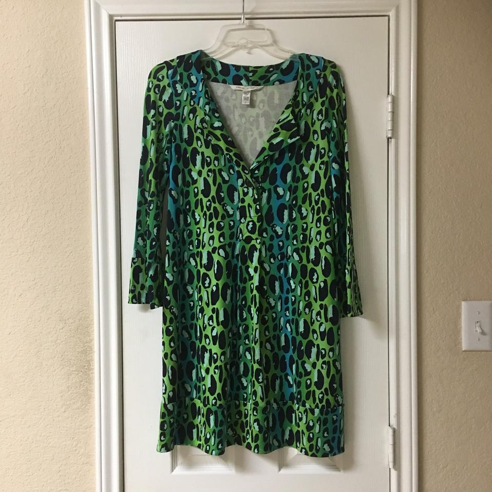 Diane von Furstenberg Green & Black Gabi Mid-length Work/Office Dress Size  2 (XS) 68% off retail