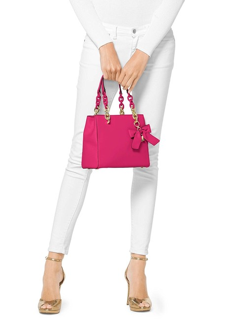 Item - Bow Cynthia Small North South Convertible Bow Ultra Pink Leather Satchel