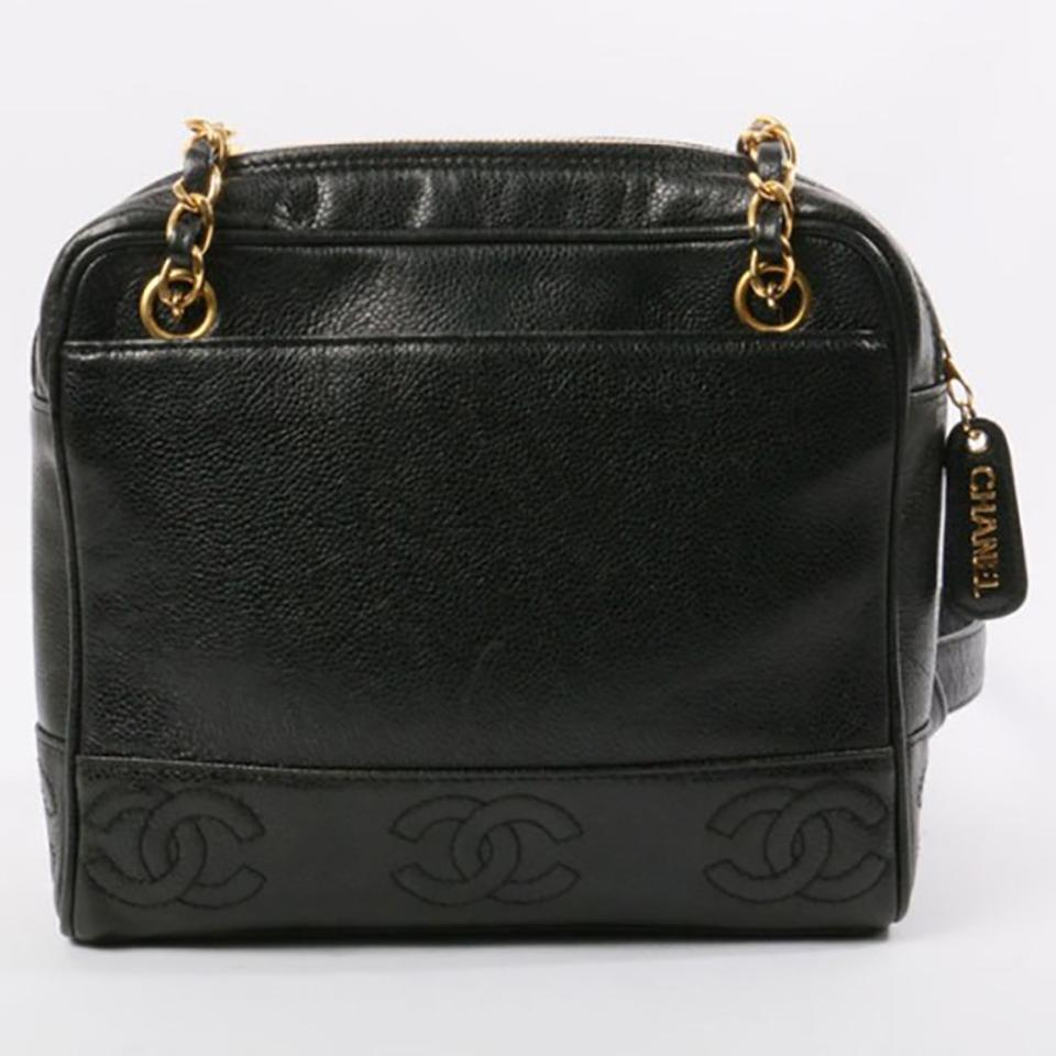 ef59c5bba578 Chanel Timeless Shopping Vintage Cc Stitching Black Caviar Leather Tote