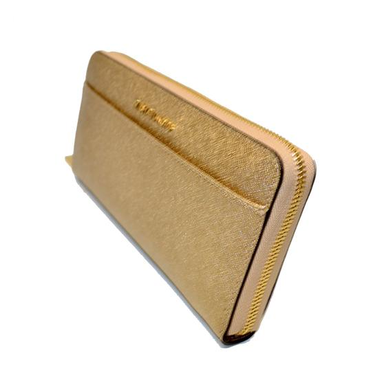 Michael Kors Money Pieces Pocket Zip Around Emb Leather Wallet