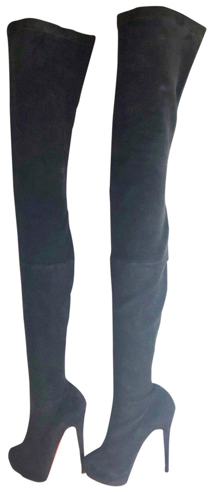 c053d5046b45 Christian Louboutin Black Monique 140 Suede Thigh-high Over Knee Boots  Booties