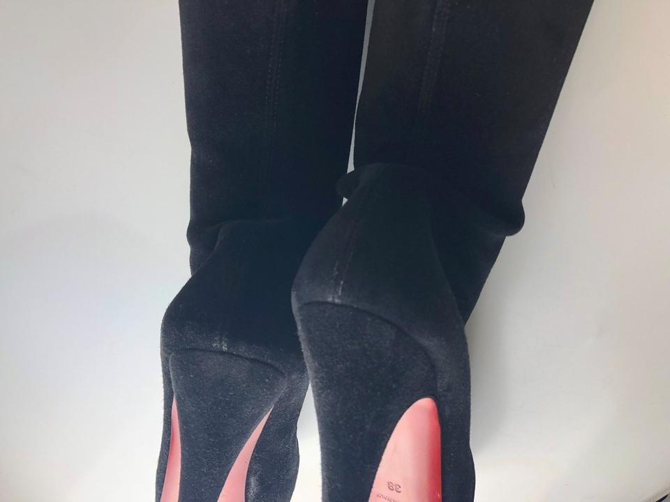 55a877c9ce7c Christian Louboutin Black Monique 140 Suede Thigh-high Over Knee Boots  Booties Size EU 38 (Approx. US 8) Regular (M