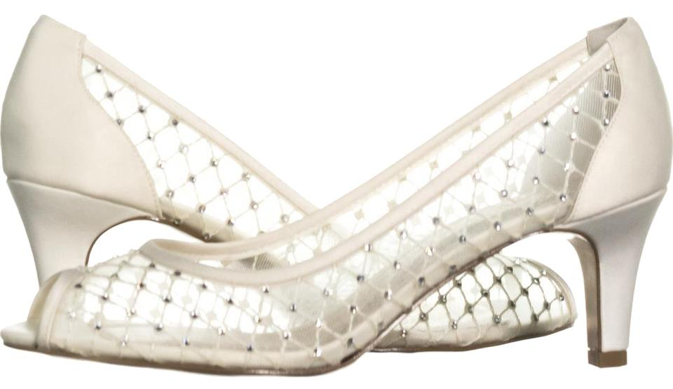 70c7fe733a5 Adrianna Papell Beige Jamie Peep Toe Mesh Caged 408 Ivory Pumps Size ...