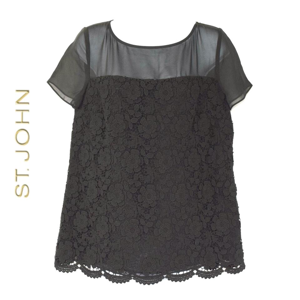 fea418ad St. John Black Collection Sheer Yoke Floral Lace Item #5237188 Blouse