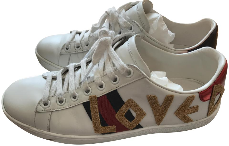 17d21b05290 Gucci White Sneaker Has Love Logo Sneakers Size EU 36 (Approx. US 6 ...