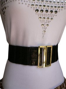 08e375b3af5 Black Wide Elastic Faux Leather Gold Metal Square Buckle Women Belt 60% off  retail