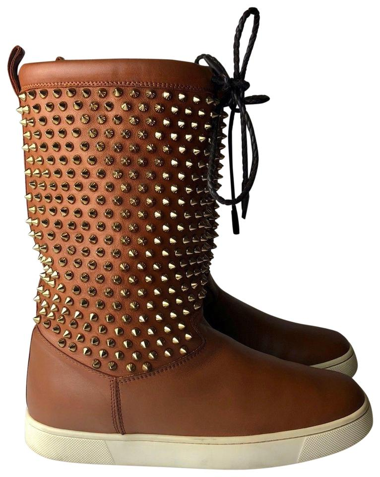 Christian Louboutin Camel Flat Brown Surlapony Flat Camel Nappa Boots/Booties 501a09