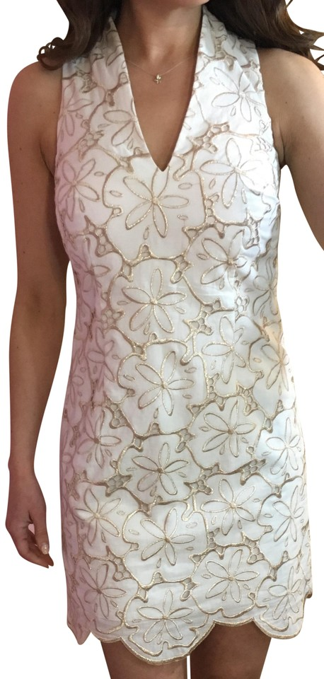 24472abe6c1 Lilly Pulitzer Resort White Metallic Sand Dollar (Gold) Estella Gold and  Shift Cocktail Dress