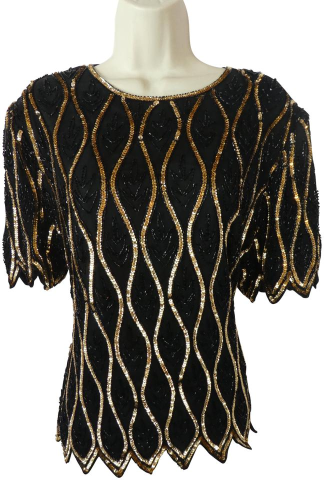 142655a617c51 Leslie Fay Black Stenay L Sequin Beading Formal Silk Blouse Size 6 ...