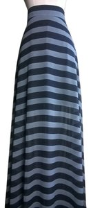 Lisa Nieves Striped Chiffon Flowy Casual Maxi Skirt grey/black