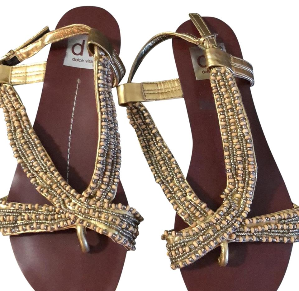 a5fdf2945625 Dolce Vita Gold and Ivory Bohemian Style Flats Sandals Size US 4 ...