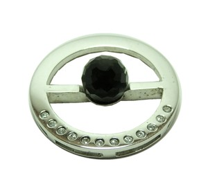 V.dynasty New' 925 Sterling Silver + Platinum Black Onxy Pendant P010626